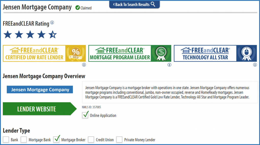 FREEandCLEAR Mortgage Lender Directory